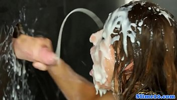 cum drenched in covered Skinny 60 plus anal