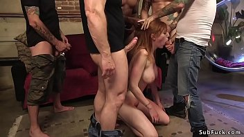 gothic redhead lingerie Shaving head bald forced for woman