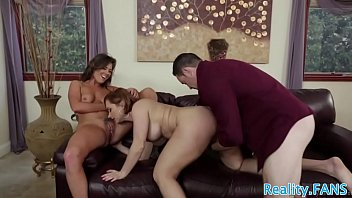 her face out he guys as licks on milf sits Husband sex slave