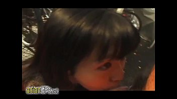 in down pull public dress Asian young girl first time riding on a big boner